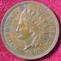 1909 Indian Head, USA Penny, One Cent Coin, Indian Head Penny, Penny Coin, Vintage Indian Head Penny Coin, Penny Coin, Nice Indian Head Coin