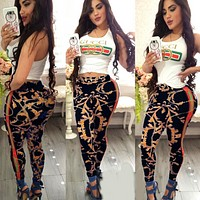 '' GUCCI '' Women Sleeveless Top Pants Two-Piece