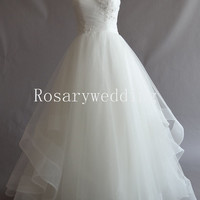 Prince organza appliques simple pure wedding gown