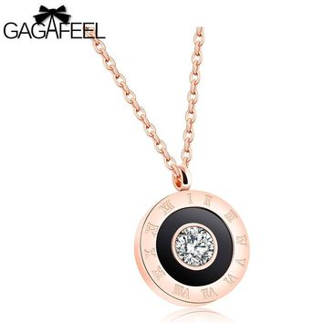 GAGAFEEL Round Roman Numerals Pendant Necklace Women Choker Stainless Steel  Zircon Rose Gold Color Link Chain Clavicle Newest