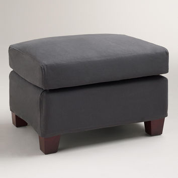Charcoal Luxe Ottoman Slipcover - World Market
