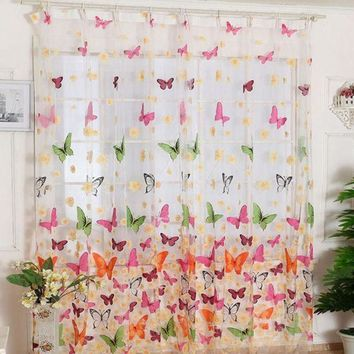 MDIGYN5 Super Deal Butterfly Tulle Door Window Curtain Drape Panel Sheer Scarf Valances XT