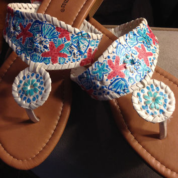 "Lilly Pulitzer Inspired Hand-Painted Jack Rogers Look-Alikes in ""She She Shells"""