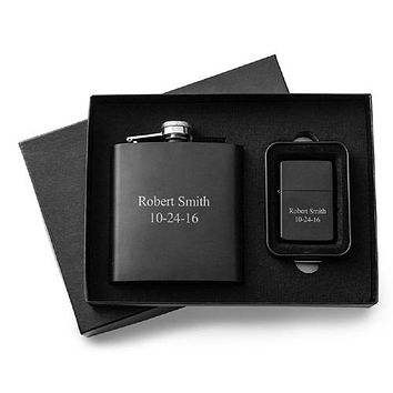 Personalized Black 6oz Matte Flask and Lighter Gift Set Free Engraving