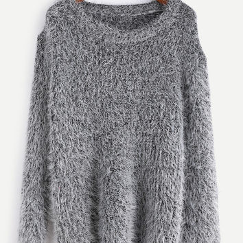 Grey Fuzzy Drop Shoulder Sweater