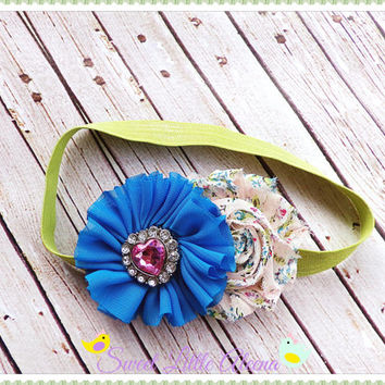 Turquoise Peach Baby Headband - Shabby Floral Hairband - Pink Heart Headband - Newborn Hairbows - Infant Hair Accessories - Girls Hair Clip
