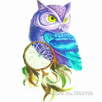 2016 New Design Colorful Owl and Dreamcatcher 19x12cm Waterproof Temporary Tattoo Stickers