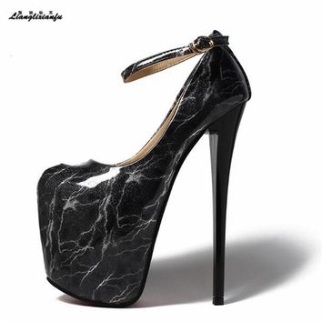 LLXF zapatos Plus:34-42 43 Sexy 20cm Thin High-heeled Shoes woman platforms Patent Leather Stiletto female Ankle strap Pumps