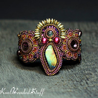 Dancing Amara - Reserved Bead embroidered cuff