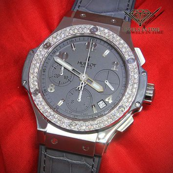 Hublot Big Bang Chronograph Earl Gray Steel Diamond 41mm Automatic Watch 342