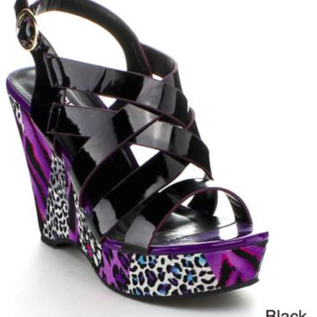 Bumper Multi Bands Sling Back Platform Wedge