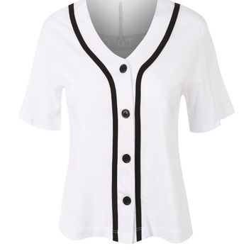 LE3NO Womens Cropped Button Down Short Sleeve Baseball  Shirt