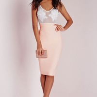 Missguided - Embroidered Bust Detail Bodycon Dress Nude/White
