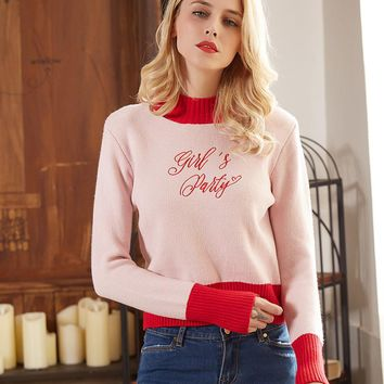 Winter Alphabet Slim Pullover Long Sleeve Sweater [73419030554]