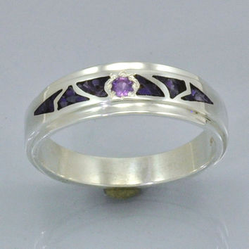 Mosaic Inlay Sugilite and Amethyst in Sterling Silver Band