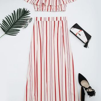 Cover ups Bikini ZAFUL New Women  Separate Slit Striped Two Piece Suit Beach Strapless Bandeau Flounce Top Off The Shoulder Crop Top KO_13_1