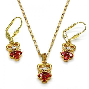 Gold Layered 10.236.0019 Necklace and Earring, Teardrop Design, with White and Garnet Cubic Zirconia, Polished Finish, Golden Tone