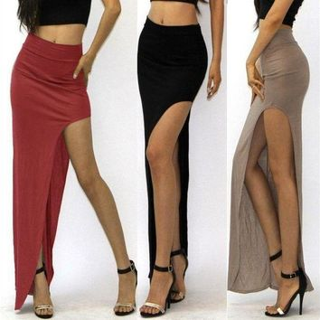 ICIKON3 new 2018 novelty Skirt Sexy Women Long Skirts Lady Empire Open Side Split Skirt high waist High Slit Long Maxi Skirts