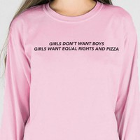 Equal Rights and Pizza Long Sleeve Tee