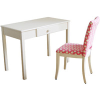 Walmart: Desk and Upholstered Chair Set, White and Pink