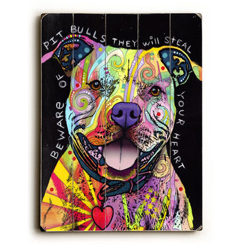 Beware of Pit Bulls by Artist Dean Russo Wood Sign
