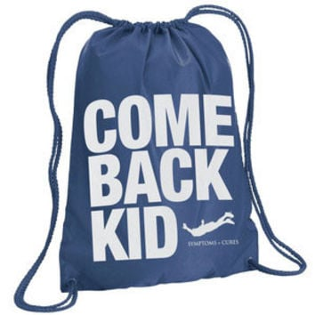 Comeback Kid Symptoms + Cures Drawstring Backpack Blue