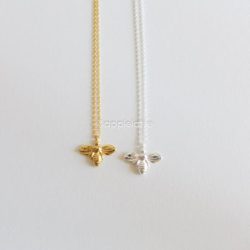 tiny Bee necklace in gold or silver, bumble bee necklace, honey bee necklace, layering necklace, delicate necklace