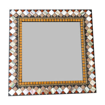 Square Mosaic Mirror // Wall Decor // Mixed Media Mosaic // Earth Tones