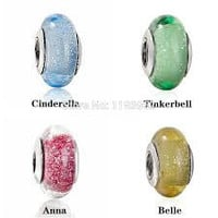 Disney Pandora Charms Cinderella, Tinkerbell, Anna and Belle Murano Glass Charm Bead
