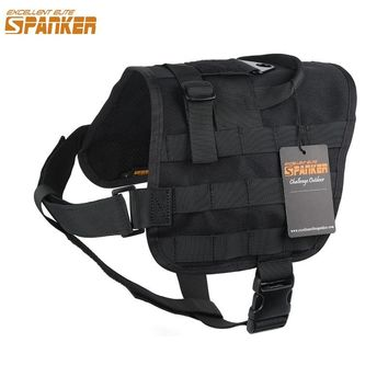 EXCELLENT ELITE SPANKER Tactical Molle Dog Vest Outdoor Military Pet Dog Clothes Harness with Nylon and Breathable Air Mesh Dog