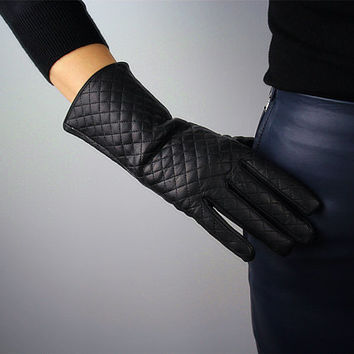 Real Leather Unisex Gloves - Wrist Long 11 inch 27cm Black Quilted - Genuine Sheepskin Lambskin - Handmade