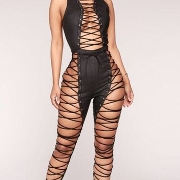 Lace Up Romper Overall