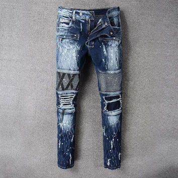 French Style 8807Mens Distressed Embellished Ribbed Stretch Moto Pants Biker Jeans Slim Trousers Size 28 42
