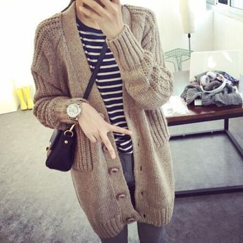 PEAPON Fashion V-Neck Loose Sweater Coat