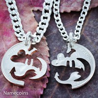 I love you to the moon and back couples necklaces