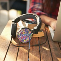 Melting colorful pieces abstract design headphones