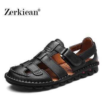 Summer New Casual Men Sandals Beach Genuine Leather Sandal Shoes Full Grain Leather Soft Outdoor Loop Slipper Flats for Walking