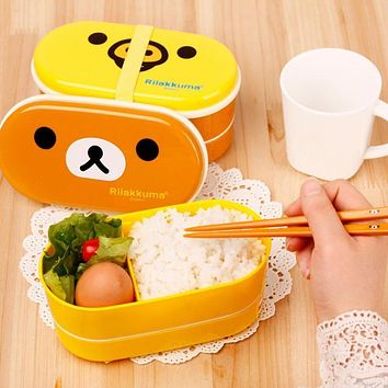 New 2 Layer Cartoon Rilakkuma Lunchbox Bento Food Container With Japanese Style Plastic