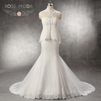 Rose Moda Strapless Mermaid Wedding Dress with Removable Lace Jacket Two Pieces Destination Bridal Gown Custom Made