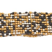 Silver and Gold Bead Stretch Bracelet