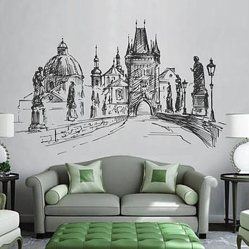 Prague Skyline Wall Decals Prague Wall Decals Cityscape Prague Wall Decals Czech Republic Wall Decals kik2406