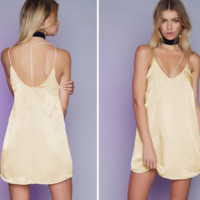 Gold Silky Strap Dress