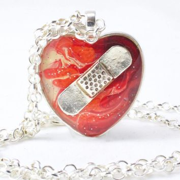 Fiery Bandaid Necklace