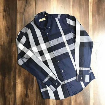 ONETOW Burberry High Quality Men's Casual Stripes Plaid Long Sleeved Shirt G-A-XYCL
