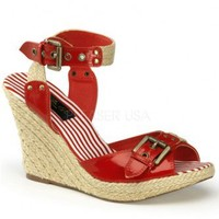 Red Patent Faux Leather Buckle Detail Woven Canvas Wedges @ Wowpink Wedges Shoes Store:Wedge Shoes,Wedge Boots,Wedge Heels,Wedge Sandals,Dress Shoes,Summer Shoes,Spring Shoes,Prom Shoes,Women's Wedge Shoes,Wedge Platforms Shoes,floral wedges,Fashion Wedge