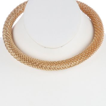 Gold Mesh Snake Chain Choker Necklace