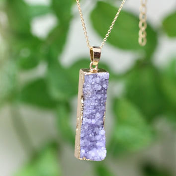 M78031 Druzy Rectangle Gold Plate Bezel Irregular Nature Stone Multicolor Agate Charms Geode Druzy Pendant For Necklace