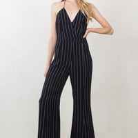 Striped Halter Wide Leg Jumpsuit
