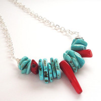 Tribal, Boho Jewelry,  Blue Turquoise Chip Nugget Red Coal Sticks On Silver Chain, Blue Gemstone with Red Coral Ethnic, Christmas  Necklace