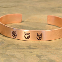 Hammered Copper Owl Cuff Bracelet
